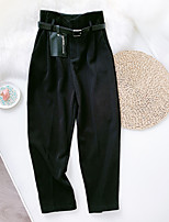 cheap -Women's Basic Streetwear Comfort Daily Going out Pants Business Pants Solid Colored Ankle-Length Pocket Black Blue
