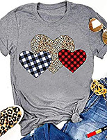 cheap -women buffalo plaid & leopard heart t-shirt short sleeve graphic tees blouse tops for valentine's day (gray, small)