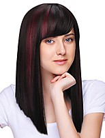 "cheap -silky straight synthetic wig with bangs,heat resistant natural looking long hair full head wig for american african women adults 16"" highlights"