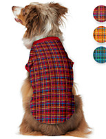 cheap -Dog Shirt / T-Shirt Plaid Printed Classic Cute British Casual / Daily Dog Clothes Puppy Clothes Dog Outfits Breathable Yellow Red Green Costume for Girl and Boy Dog Polyster S M L XL