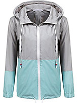 cheap -womens windbreaker raincoat waterproof front-zip rain jacket outdoor hooded blue/gray s