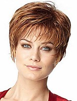 cheap -short brown gold haircuts for women heat resistant synthetic wig natural female wig (brown)