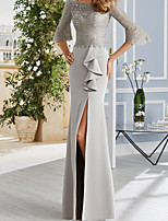 cheap -Sheath / Column Elegant Minimalist Wedding Guest Formal Evening Dress Illusion Neck Half Sleeve Floor Length Charmeuse with Ruffles Split 2020