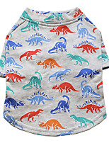cheap -Dog Shirt / T-Shirt Dinosaur Fashion Cute Casual / Daily Winter Dog Clothes Puppy Clothes Dog Outfits Breathable Gray Costume for Girl and Boy Dog Cotton S M L XL