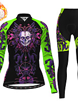 cheap -21Grams Women's Long Sleeve Cycling Jersey with Tights Winter Fleece Polyester Black / Yellow Purple Blue Skull Christmas Bike Clothing Suit Thermal Warm Fleece Lining Breathable 3D Pad Warm Sports