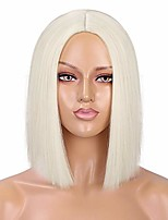 cheap -platinum blonde wig straight hair short bob wigs for women middle part shoulder length synthetic wig cosplay halloween party wigs