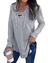 cheap -women lace up v neck long sleeve tops criss cross v-neck basic shirts
