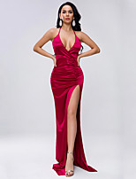cheap -Sheath / Column Sexy bodycon Prom Formal Evening Dress Halter Neck Sleeveless Sweep / Brush Train Spandex with Ruched Split 2020