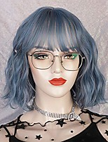 cheap -synthetic curly bob wig with bangs women's shoulder length wavy wigs with bangs natural heat resistant fiber hair wigs for daily party cosplay