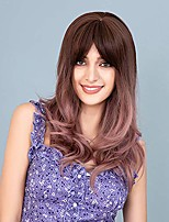 cheap -ombre brown wig with bangs for women brown ombre pink long wavy curly hair wigs with bangs natural looking synthetic heat resistant wig for daily party halloween 22""