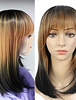 "cheap -short bob wigs 3 tone straight synthetic wigs with bangs 3 colors ombre bob wig 15"" cosplay wig for women halloween party costume wig heat resistant (15"", t1b/27/1b)"