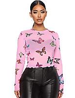 cheap -women's long sleeve crewneck butterfly print sexy sheer mesh crop top pink medium