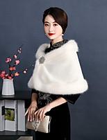 cheap -Sleeveless Capes Faux Fur Wedding Shawl & Wrap With Fur