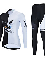cheap -Women's Long Sleeve Cycling Jersey with Bib Tights Cycling Jersey with Tights Cycling Jersey Winter White Black Black / White Cat Bike Breathable Quick Dry Sports Cat Mountain Bike MTB Road Bike