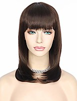 cheap -short natural bob style synthetic none lace wigs black brown hair glueless synthetic wigs with bangs for women celebrity daily makeup