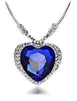 cheap -huge titanic heart of the ocean sapphire blue cz crystal necklace pendant-blue