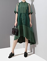 cheap -Women's Swing Dress Midi Dress - Short Sleeve Color Block Patchwork Fall Shirt Collar Casual Loose 2020 Black Green One-Size