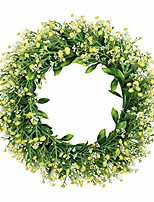 "cheap -16"" artificial gypsophila wreath floral wreath greenery wreath front door wall window farmhouse wreath home wedding indoor outdoor decoration"
