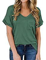 cheap -women's casual tops short sleeve v-neck shirts loose blouse basic tee t-shirt green