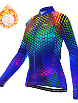 cheap -21Grams Women's Long Sleeve Cycling Jacket Winter Fleece Polyester Blue Bike Jacket Top Mountain Bike MTB Road Bike Cycling Thermal Warm Fleece Lining Breathable Sports Clothing Apparel / Stretchy