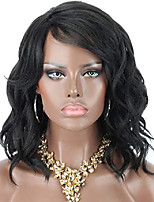 """cheap -12"""" black wigs for black women short curly wavy synthetic wigs with bangs side parting natural lightweight heat resistant premium yaki synthetic hair wigs,comes with clips and wig caps"""