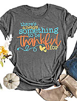 cheap -there's always something to be thankful for t-shirt women funny letter cute graphic tee top autumn thanksgiving tops blouse (s, grey)