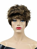 cheap -short straight fluffy synthetic wigs with bangs for women girls medium golden brown
