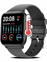 cheap -smart watch with thermometer monitor, yohuton smartwatches fitness tracker with heart rate monitor ip68 waterproof smartwatch compatible with ios and android phone smart watch for men women (black)