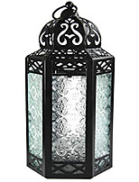 cheap -moroccan style candle lantern with led fairy lights, large, clear glass