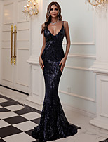 cheap -Mermaid / Trumpet Beautiful Back Sexy Prom Formal Evening Dress Spaghetti Strap Sleeveless Sweep / Brush Train Sequined with Sequin 2020