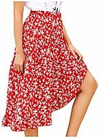cheap -womens floral print polka dot pleated midi skirt with drawstring high waist flared short skirt