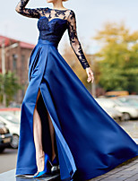 cheap -A-Line Luxurious Sexy Wedding Guest Formal Evening Dress Illusion Neck Long Sleeve Floor Length Lace Satin with Split Appliques 2020