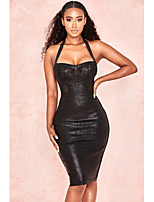cheap -Sheath / Column Little Black Dress Sexy Party Wear Cocktail Party Dress Halter Neck Sleeveless Short / Mini Spandex with Sleek 2020