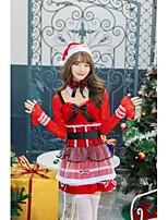 cheap -Santa Suit Costume Adults' Women's Christmas Christmas Festival Christmas Festival / Holiday Polyester Velour Red Women's Easy Carnival Costumes Polka Dot / Dress / Hat / Neckwear