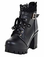 cheap -rqwein large size booties female thick with waterproof platform lace high heel lace up ankle boots black