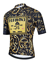 cheap -Men's Short Sleeve Cycling Jersey Gold Floral Botanical Bike Top Mountain Bike MTB Road Bike Cycling Breathable Quick Dry Sports Clothing Apparel / Stretchy / Athletic