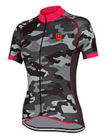 cheap -21Grams Women's Short Sleeve Cycling Jersey Polyester Grey Camo / Camouflage Bike Jersey Top Mountain Bike MTB Road Bike Cycling Quick Dry Reflective Strips Back Pocket Sports Clothing Apparel