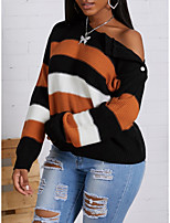 cheap -Women's Stylish Knitted Striped Color Block Pullover Long Sleeve Sweater Cardigans Crew Neck Fall Winter Blue Blushing Pink Orange