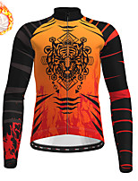 cheap -21Grams Men's Long Sleeve Cycling Jersey Winter Fleece Blue Orange Green Camo / Camouflage Bike Top Mountain Bike MTB Road Bike Cycling Fleece Lining Warm Sports Clothing Apparel / Stretchy