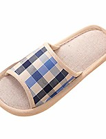 cheap -men's house shoes cute comfy flat slide slippers fashion casual couples gingham home slippers indoor floor flat shoes