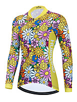 cheap -Women's Long Sleeve Cycling Jersey Winter Yellow Floral Botanical Bike Top Mountain Bike MTB Road Bike Cycling Breathable Quick Dry Sports Clothing Apparel / Stretchy / Athletic