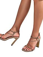 cheap -Women's Heels Chunky Heel Open Toe Casual Daily Walking Shoes PU Solid Colored Camel