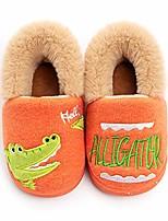 cheap -toddler boys girls slippers fluffy little kids house slippers warm fur cute animal home slipper, orange 21