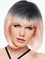cheap -short kinky hair bob pink heat resistant synthetic fiber women wig