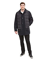 cheap -men's weston wool blend car coat with scarf (standard & big-tall sizes), charcoal, 2x big