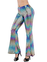 cheap -women's retro mermaid fish scale bell bottom flare pants leggings (s, colored black)