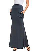 cheap -women's fold over high waisted floor length maxi flare skirt with pockets (charcoal, x-large)