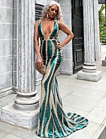 cheap -Mermaid / Trumpet Sexy Sparkle Party Wear Formal Evening Dress V Neck Sleeveless Sweep / Brush Train Spandex with Sequin 2020