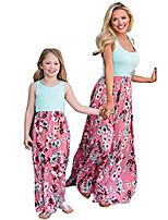 cheap -family matching flower print maxi dress mommy&me one piece patchwork o-neck sleeveless summer long dress (pink, mom m)
