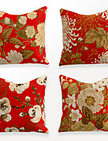 cheap -Cushion Cover 4PCS Linen Soft Decorative Square Throw Pillow Cover Cushion Case Pillowcase for Sofa Bedroom 45 x 45 cm (18 x 18 Inch) Superior Quality Mashine Washable Chinese Style Red